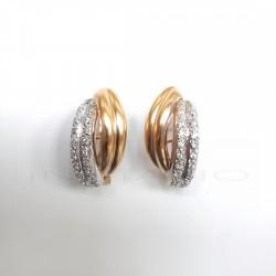 Pendientes Oro Bicolor Rayas CirconitasP008501257