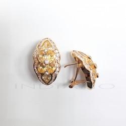 Pendientes Oro Forma Marquis Circonitas Blancas y AmarillasP023000521