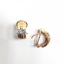 Pendientes Oro Rectangular Circonita AzulP023001657