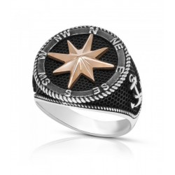 Sello Plata Bicolor Estrella de los VientosP026200391