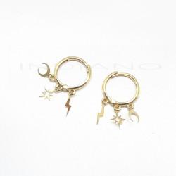 Pendientes Oro Aros con Triple Motivo ColgandoP026300101