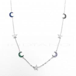 Gargantilla Plata Motivos Estrellas y Lunas CirconitasP002305044