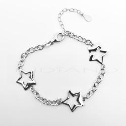 Pulsera Plata Tres Estrellas CaladasP026200576