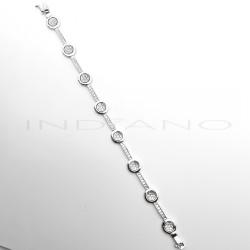 Pulsera Oro Blanco Eslabones Circulares CirconitasP007701787