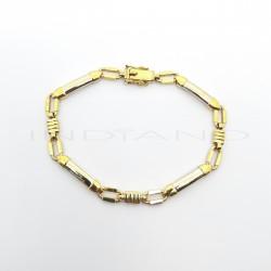 Pulsera Oro Bicolor Maciza Cuatro ChapasP000201645