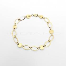 Pulsera Oro Eslabones Circulares y OvaladosP011000322