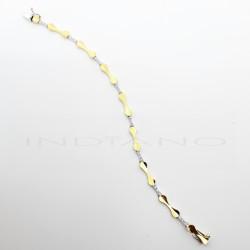 Pulsera Oro Bicolor Lazos Brillo y CirconitasP015700019
