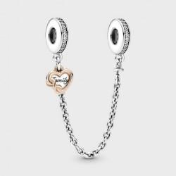 Cadena de Seguridad Pandora en Plata y Rose Corazón Famiiliar789541C01-05
