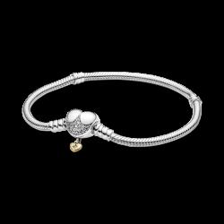 Pulsera Pandora Moments Cadena de Serpiente con Cierre de Corazón Disney569563C01-19