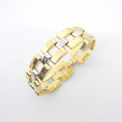 Pulsera Oro Bicolor Ancha CuadradosP007701044