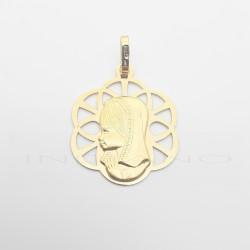 Medalla Oro Flor Calada Virgen Niña