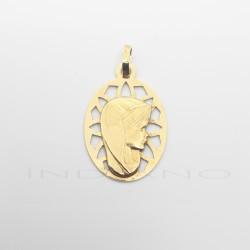 Medalla Oro Oval Calada Virgen Niña