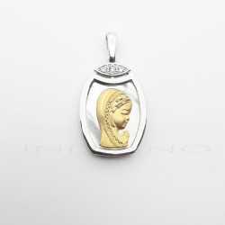 Medalla Oro Blanco Nacar Virgen
