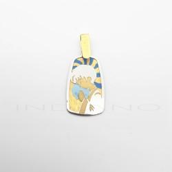 Medalla Oro Bicolor Niño Rezando EsmalteP010200420