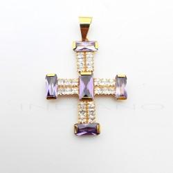 Cruz Oro Ancha Circonitas Blancas y MoradasP005505792