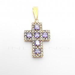 Cruz Oro Ancha Circonitas Blancas y MoradasP008501695