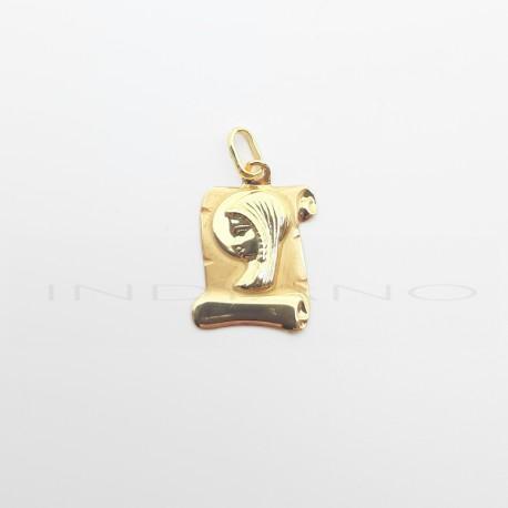 Medalla Oro Pergamino Virgen Niña