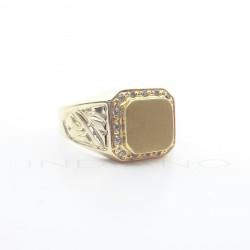 Sello Oro Tabla Cuadrada Circonitas AlrededorP007700411