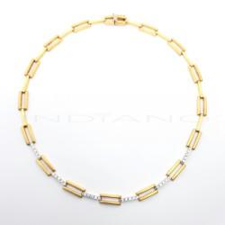 Gargantilla Oro Bicolor Eslabones Rectangulares CirconitasP011000254