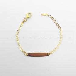 Esclava Oro Chapa Oval Lisa Cadena RombosP011000327