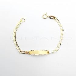 Esclava Oro Bebe Chapa Lapidada Cadena BilbainaP026800006