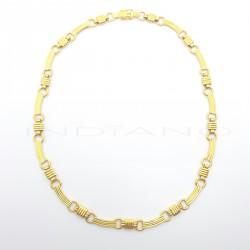Gargantilla Oro Chapas Curvas RayadasP005502589