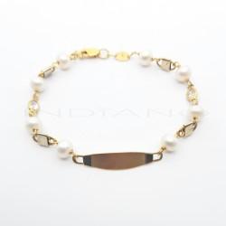 Esclava Oro Bicolor Perlas y CirconitasP002000587