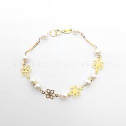 Pulsera Oro Perlas y Flores AlternasP010200415