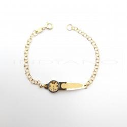 Esclava Oro Bicolor Chapa Reloj Cadena HungaraP010200698
