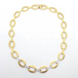 Gargantilla Oro Bicolor Eslabón Ovalado CirconitasP011000393