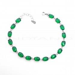 Pulsera Plata Circonitas Verdes OvaladasP025101076
