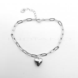 Pulsera Plata eslabón Figaro Motivo Corazón LisoP017701616