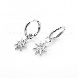 Pendientes Plata Largos Aros con Motivo Estrella CirconitasP017701618