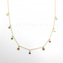 Gargantilla Plata Chapada Estrellas Lisas y Chatones ColoresP026600249
