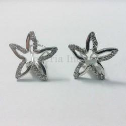Pendientes Oro Blanco Estrellas Circonitas