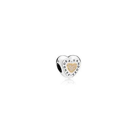 Charm en plata de ley y oro Corazón Logo PANDORA