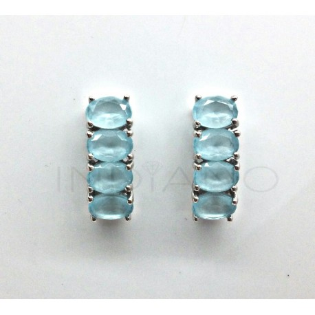Pendientes Plata Cuatro Piedras Ovaladas Azules