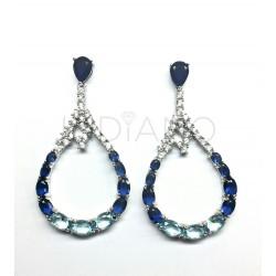 Pendientes Plata Perilla Azul