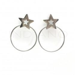Pendientes Plata Circulo y Estrella Lisos