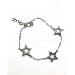 Pulsera Plata Estrellas Caladas