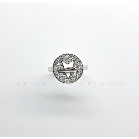 Sortija Plata Círculo Estrella Circonitas