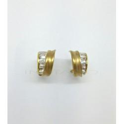 Pendientes Oro Abanico Mate Circonitas