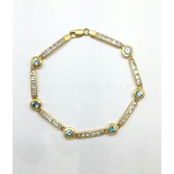 Pulsera Oro Riviere Circonitas y Chatones Azules