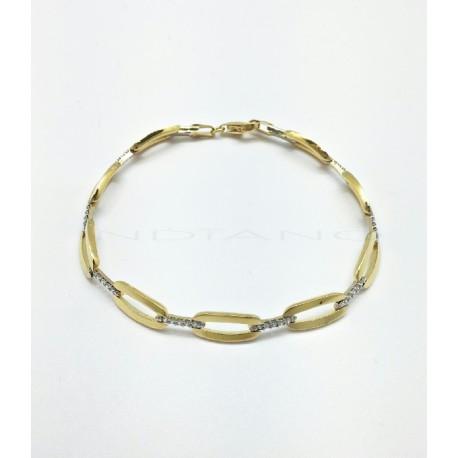 Pulsera Oro Bicolor Eslabon Ovalado