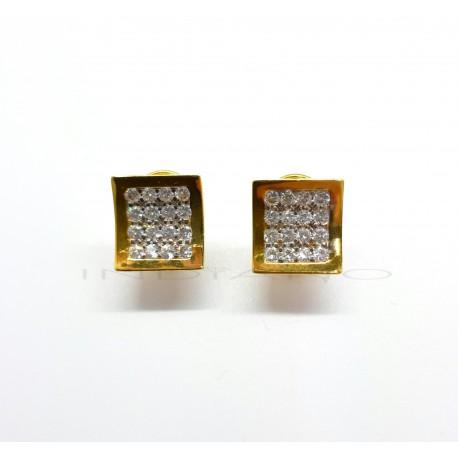Pendientes Oro Cuadrado Bicolor Circonitas