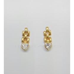 Pendientes Oro Panther Circonita Corazón