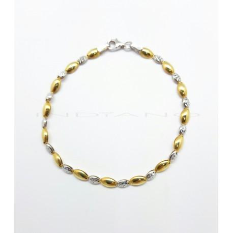 Pulsera Oro Bicolor Granos