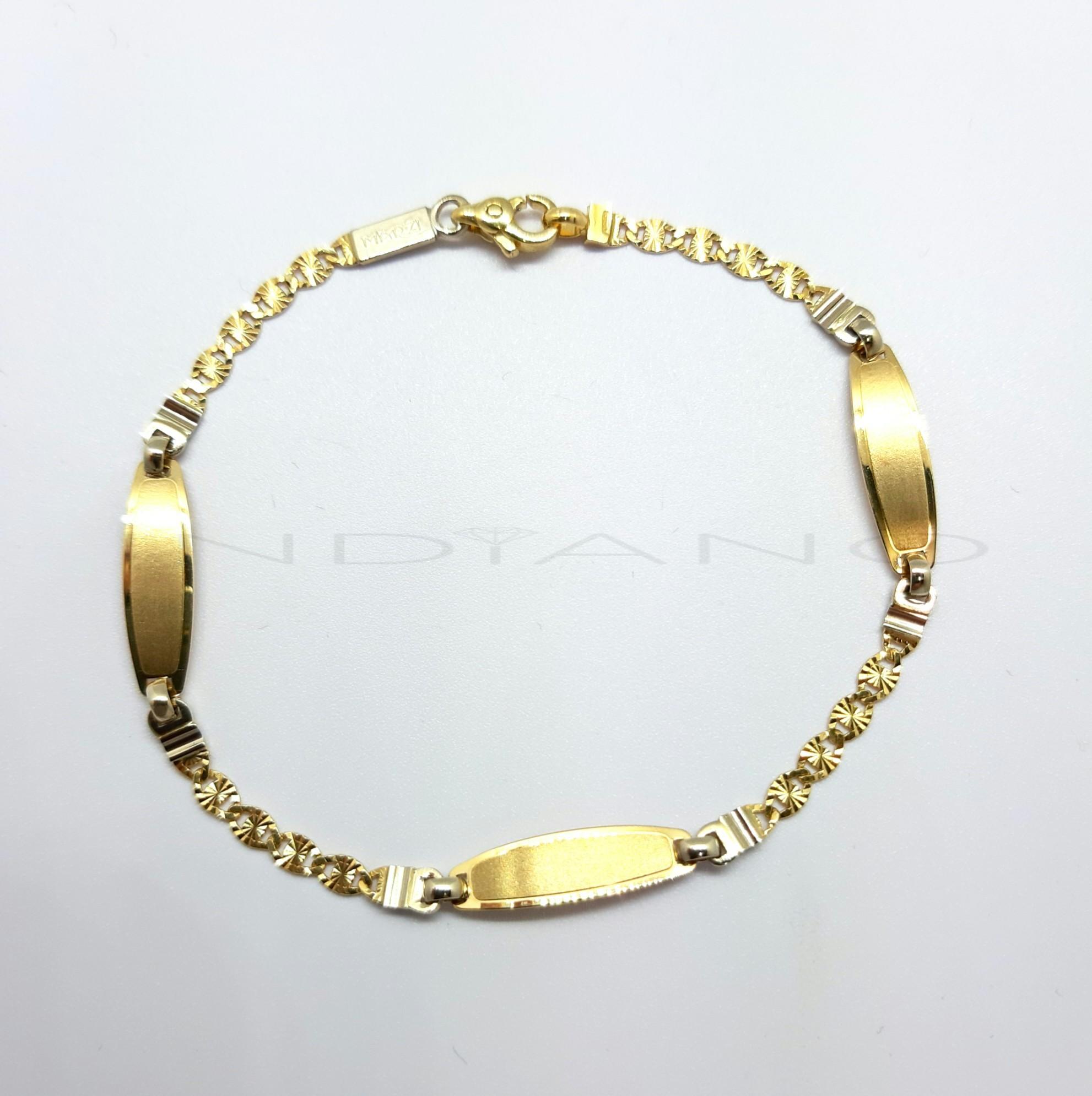 2bd03b05bb8f Pulsera Oro Bicolor Love Tres Chapas - Joyería Indiano