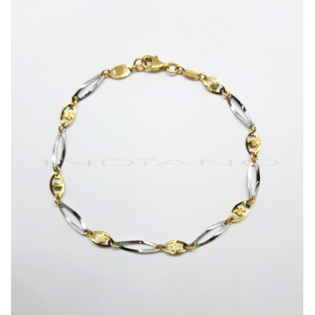 Pulsera Oro Bicolor Eslabones Ovalados