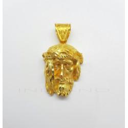 Colgante Oro Cabeza de Cristo Melena Lateral